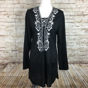 La Blanca black swim embroidered cover up one size